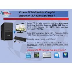 PC Complet avec Écran 21,6'' - Clavier et souris sans fil